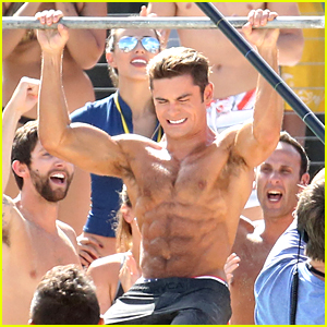 Zac Efron & Dwayne Johnson Face Off in Pull Up Contest on 'Baywatch' Set