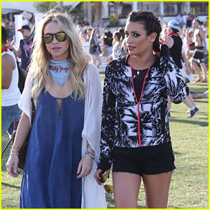 Lea Michele Wears Workout Gear at Coachella 2016 with Becca Tobin