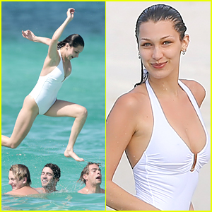 Bella Hadid Jumps Into The Ocean With Friends in St. Barts!