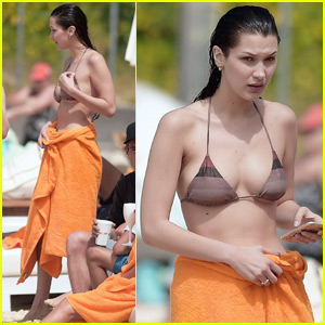Bella Hadid Takes a Dip in the Ocean in St. Barts