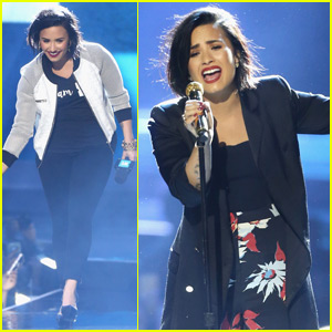 Demi Lovato Takes a Tumble On Stage at We Day 2016