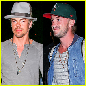 Derek Hough & Tom Felton Check Out Neon Carnival at Coachella 2016!