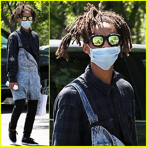 Jaden Smith Keeps His Face Covered with a Medical Mask