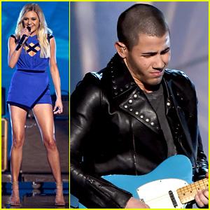 Nick Jonas Joins Kelsea Ballerini for ACM Awards 2016 Performance