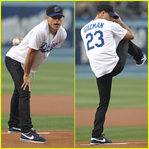 Ryan Guzman Throws Out First Pitch at Dodgers Game