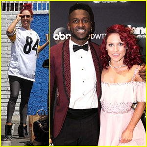 Sharna Burgess Wears Antonio Brown's Steeler Jersey to DWTS Practice