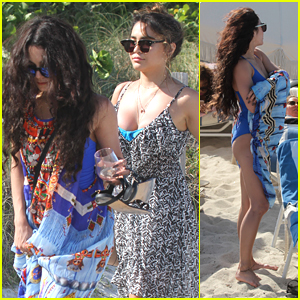 Vanessa Hudgens Rocks Blue One Piece On Miami Beach