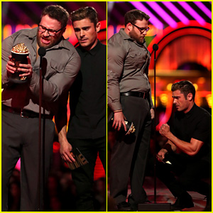 Zac Efron & Buff Seth Rogen Present at MTV Movie Awards 2016!