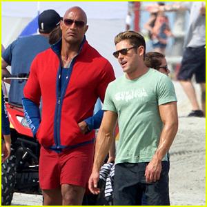 Zac Efron & Dwayne Johnson Are 'Avengers' on 'Baywatch' Set