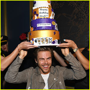 Derek Hough Wears Birthday Cake On His Head