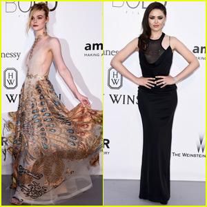 Elle Fanning & Kristina Bazan Show Their Style at amfAR Cannes Gala 2016