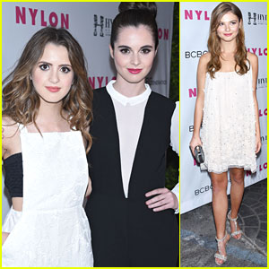 Vanessa Marano Can't Stop From Hiding Behind Sister Laura at Nylon's Young Hollywood Party
