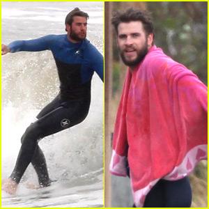 Liam Hemsworth Catches Waves in Malibu