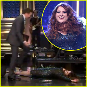 Meghan Trainor Takes a Tumble & Falls Down After 'Fallon' Performance (Video)