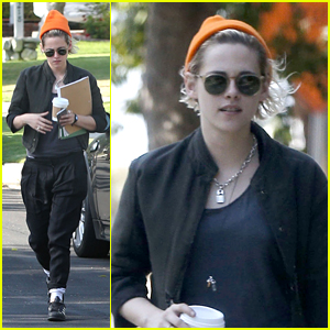 Kristen Stewart Grabs Coffee in Bright Orange Beanie