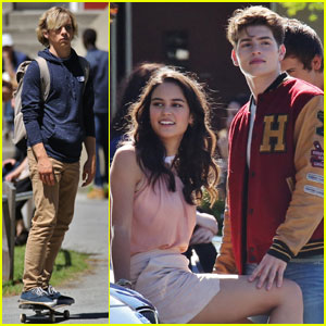 Ross Lynch Skateboards on the 'Status Update' Set With Gregg Sulkin & Courtney Eaton!