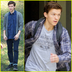 Tom Holland Looks Hot While Running for 'Spider-Man: Homecoming' Scenes