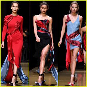 Bella Hadid, Taylor Hill, & Stella Maxwell Walk in Versace's Paris Show!