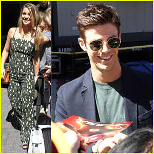 Grant Gustin, Melissa Benoist & Stephen Amell Arrive For Comic-Con Appearance on 'Conan'