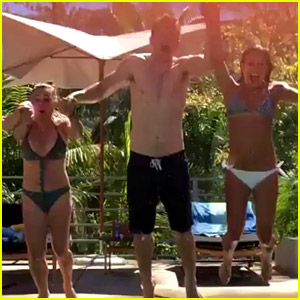 Lea Michele Jumps Into the Pool with Her Boyfriend & Parents!