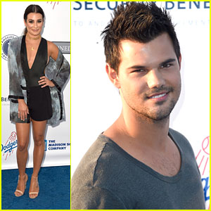 Lea Michele & Taylor Lautner Step Out For Los Angeles Dodgers Foundation Blue Diamond Gala
