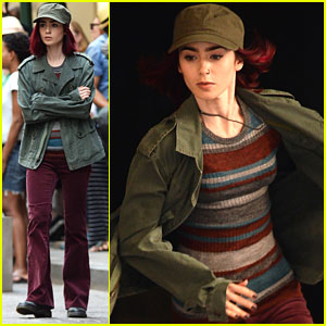 Lily Collins Wears Nose Ring For 'Okja' Filming in NYC