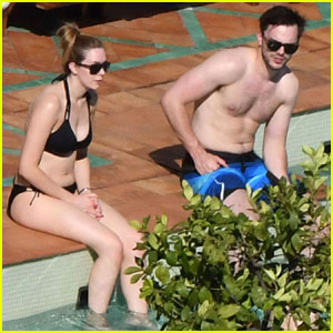 Nicholas Hoult Relaxes Shirtless By the Pool in Italy