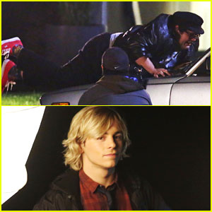 Ross Lynch & Harvey Guillen Shoot Night Scenes For 'Status Update'