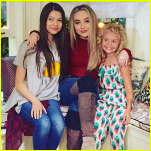Sabrina Carpenter Gets a Visit From Her 'Adventures' Co-Stars Nikki Hahn & Mallory Mahoney on 'GMW' Set