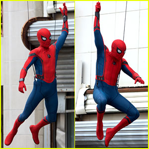 Spider-Man Does Some Stunts on 'Homecoming' Set!