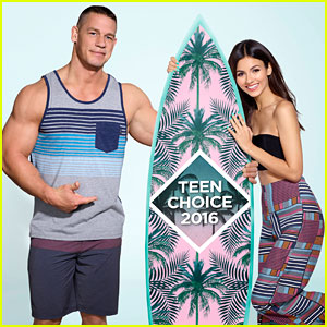 Victoria Justice & John Cena Pose with Surfboard in Teen Choice Awards 2016 Promo Pic!