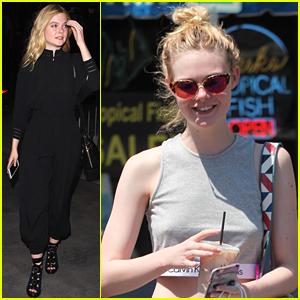 Elle Fanning Rocks Black Jumpsuit At Adele's Concert In Los Angeles