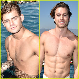 Garrett Clayton & Pierson Fode Go For a Swim at Just Jared's Summer Bash!