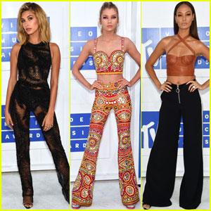 Hailey Baldwin Joined By Stella Maxwell & Joan Smalls at MTV VMAs 2016