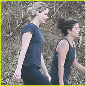 Jennifer Lawrence Goes for a Hike with a Pal