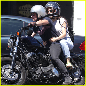 Josh Hutcherson & Claudia Traisac Run Errands On His Motorcycle in LA
