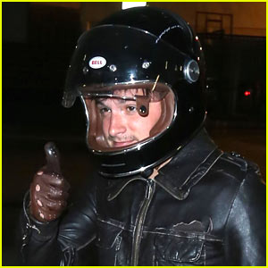Josh Hutcherson Enjoys the Summer Night in Hollywood on His Motorycle