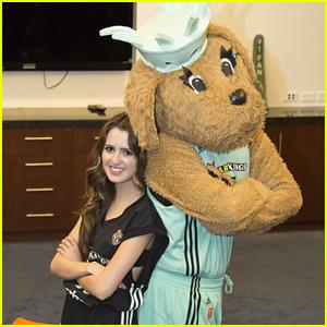 Laura Marano Meets New York Liberty Mascot Maddie