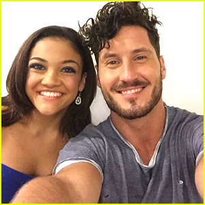 Laurie Hernandez & Val Chmerkovskiy Share First Vid From DWTS Practice