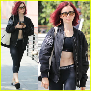 Lily Collins Gets An Early Morning Workout In!