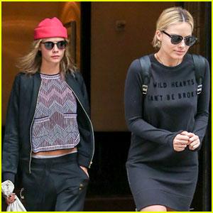 Cara Delevingne Departs New York with Margot Robbie