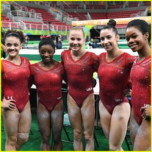 Aly Raisman, Simone Biles & Laurie Hernandez Complete Podium Training in Rio