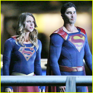 Melissa Benoist Suits Up With Tyler Hoechlin For 'Supergirl' Night Scenes