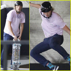 Brooklyn Beckham Practices His Skateboarding Tricks While Home in London