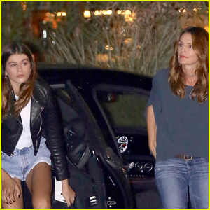 Kaia Gerber Catches Up With Mom Cindy Crawford at a Family Dinner