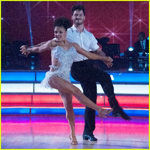 Laurie Hernandez & Val Chmerkovskiy Tie for First With Their Cha Cha - 'DWTS' Photos!
