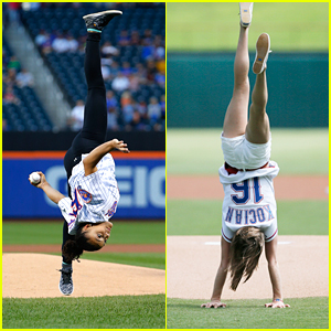 Laurie Hernandez & Madison Kocian Show Off Gymnastic Skills at MLB Games