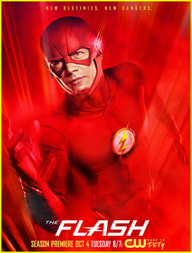 Grant Gustin Sees Red on New 'Flash' Season Three Poster!