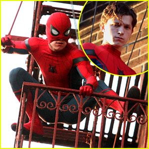 Tom Holland Jumps Off Fire Escape for 'Spider-Man' Stunt!