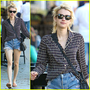 Emma Roberts Wears Cutoff Shorts For Pizza Lunch